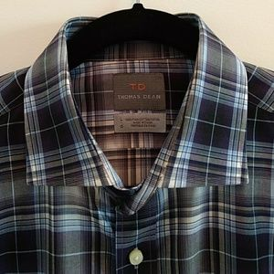 Thomas Dean Button Down Dress Shirt Checked